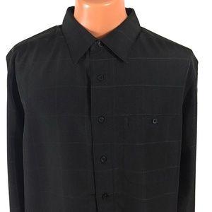 Haggar Easy Care Classic Fit Black Plaid Shirt XLT